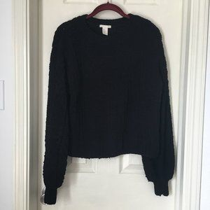 Knitted Black Sweater Puff Sleeves